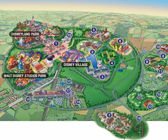 Disneyland paris disney village dining map