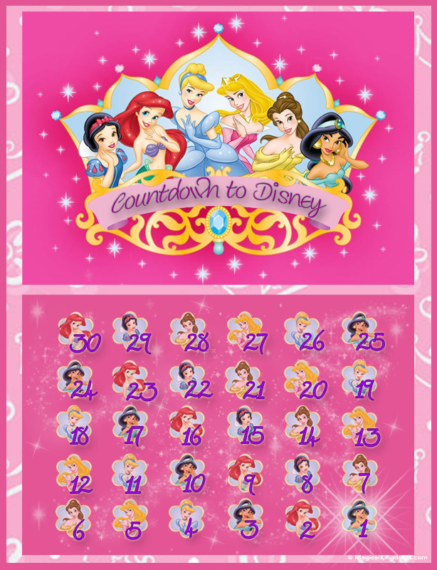 graphic regarding Disney Countdown Calendar Printable known as Disney countdown calendars Free of charge